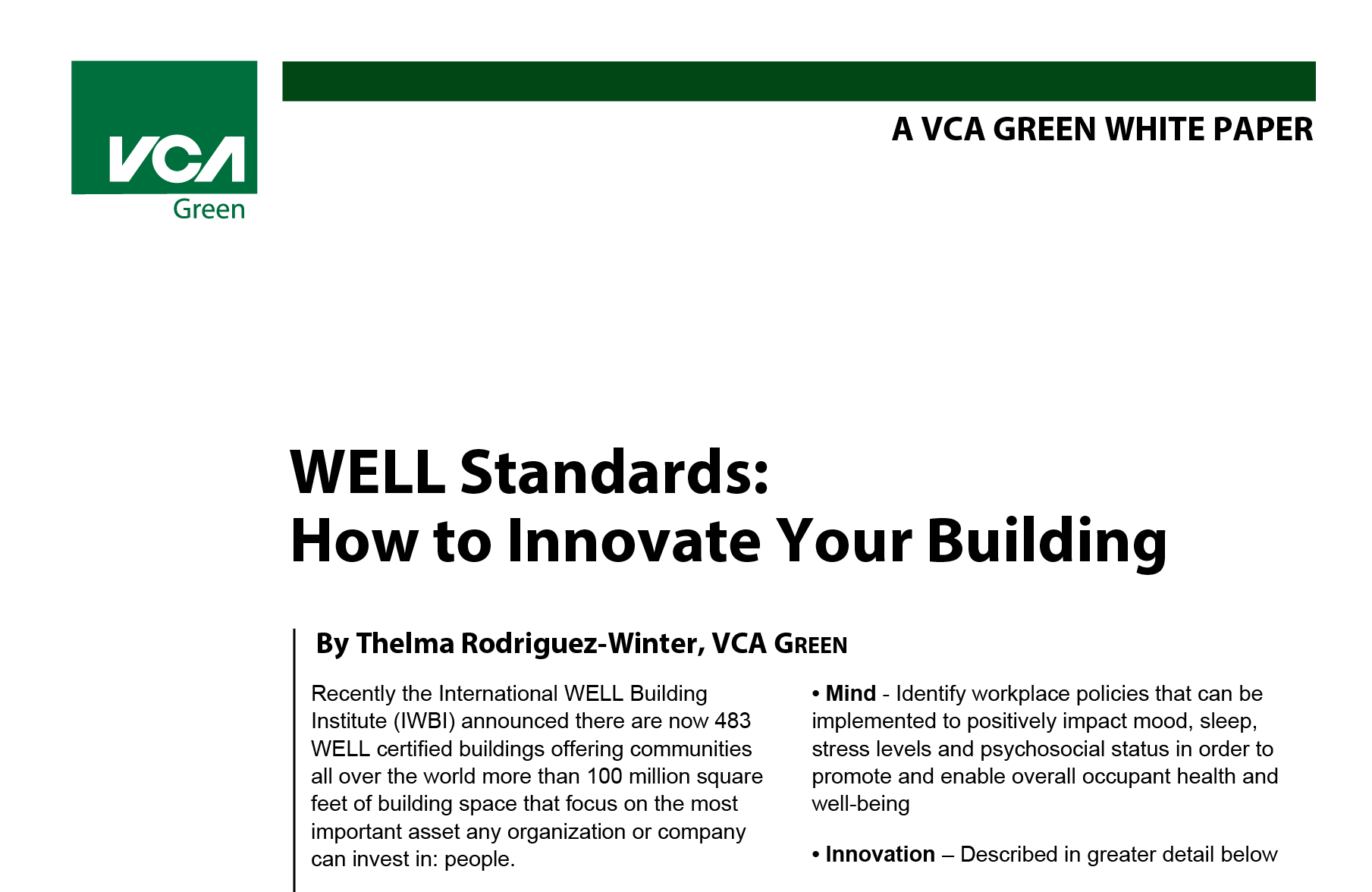 Well Standards How To Innovate Your Building Vca Green